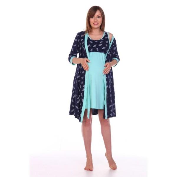 Комплект халат и сорочка для беременных и кормящих темно-синий/мышки