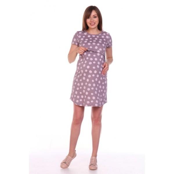 Платье для кормящих и беременных бежевое в горох