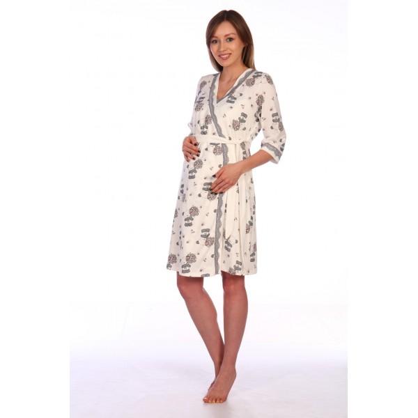 Комплект халат и сорочка для беременных и кормящих молочный
