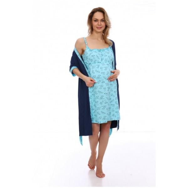 Комплект Халат и сорочка в роддом для беременных и кормящих синий/горох
