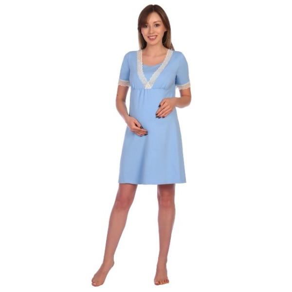 Сорочка в роддом для беременных и кормящих голубая