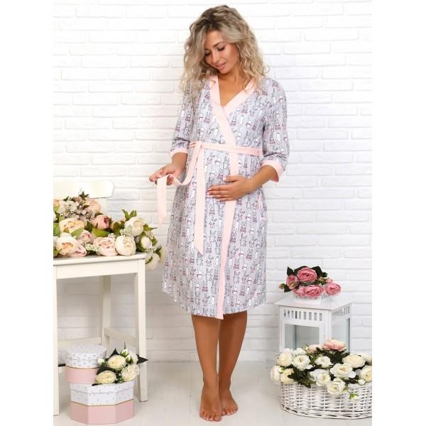 Комплект халат и сорочка для беременных и кормящих розовый