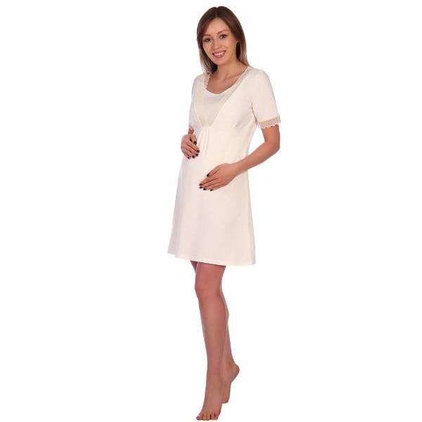 Сорочка в роддом для беременных и кормящих молочная