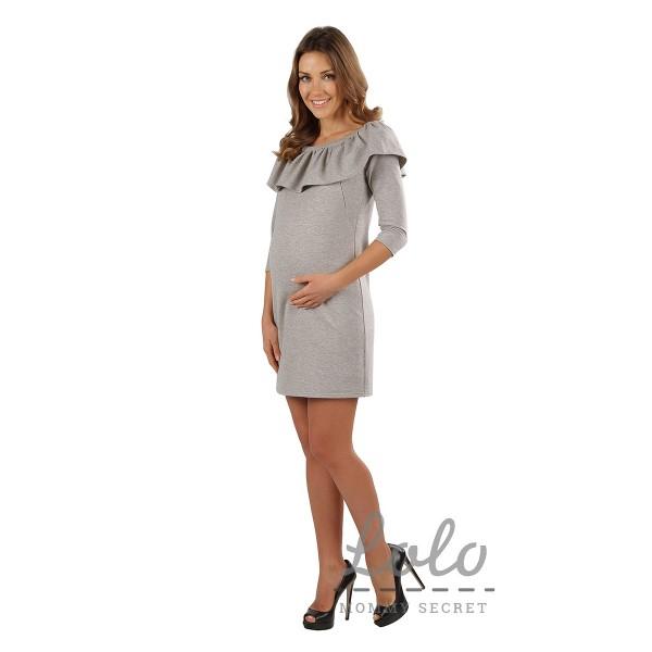 "Платье ""DR033"" серый меланж для берем/корм"