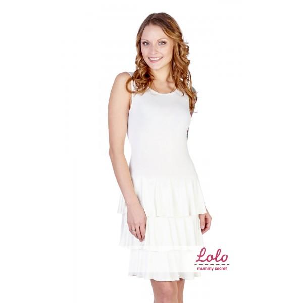Пляжное платье для беременных молочное