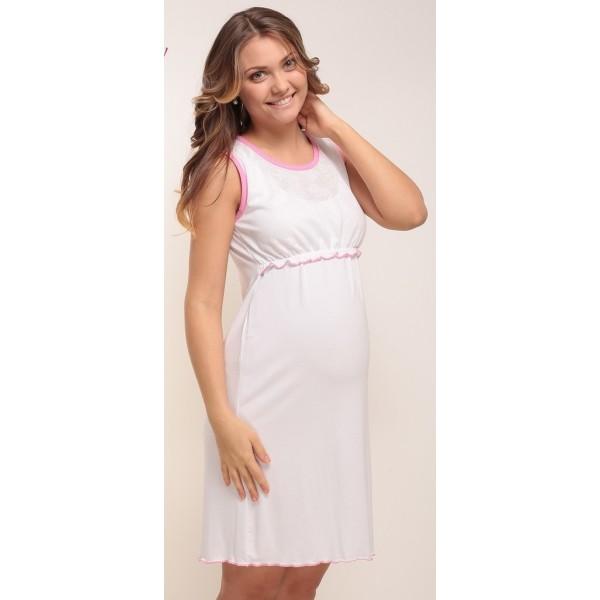 """Ночная сорочка """"Nika"""" Белая с ментоловой окантовкой для беременных и кормящих"""