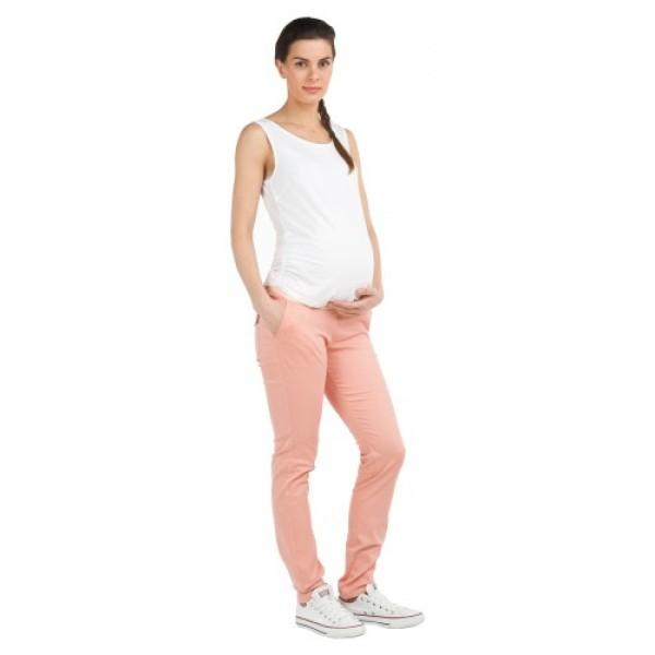 Джинсовые брюки для беременных персик