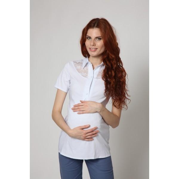 """Блуза """"тт403-1"""" Белая для беременных и кормящих"""
