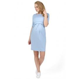 Нежно-голубое платье с завышенной талией с секретом для кормления