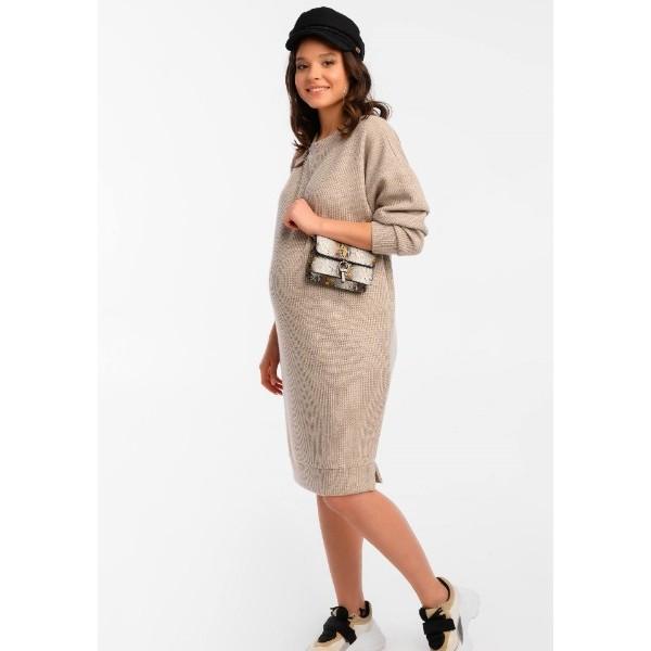 Теплое платье для беременных бежевое Оверсайз