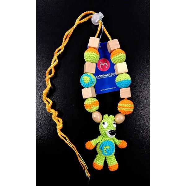 """Слингобусы (грызунок с рождения) со звенящей игрушкой """"Медведь зеленый"""""""