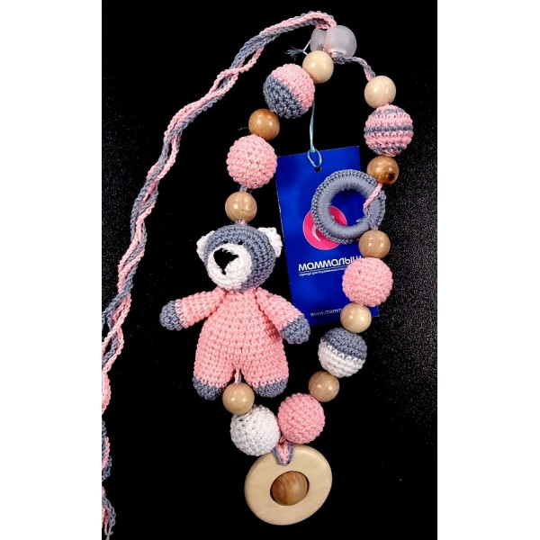 """Слингобусы """"Медведь в розовом комбинезоне"""" со звенящей игрушкой"""