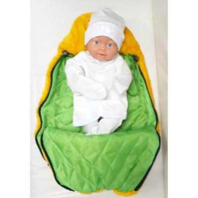 Вкладыш в конверт для новорожденного на выписку и для прогулок Принц меховой желтый