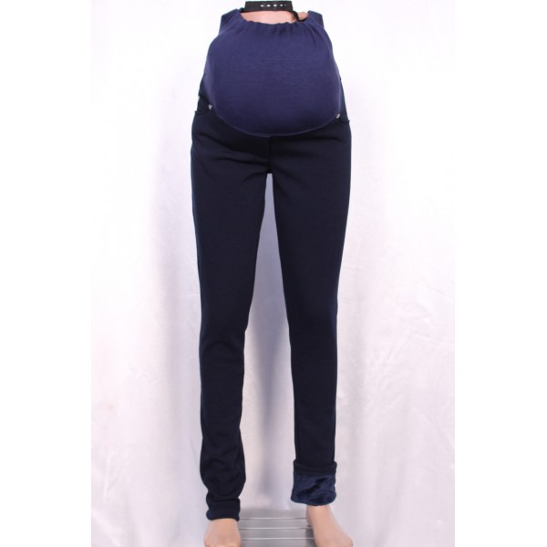 Брюки на флисе темно-синие полуклассика для беременных